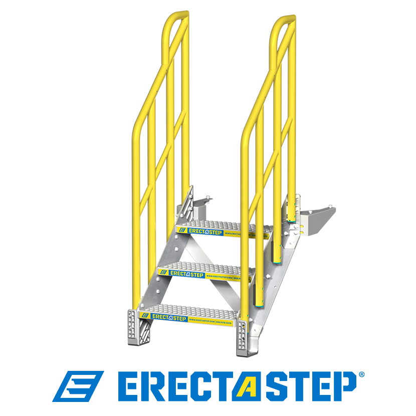 ErectaStep 3 step metal stair with slip-resistant stamped aluminum treads and sturdy 2″ diameter round handrail.
